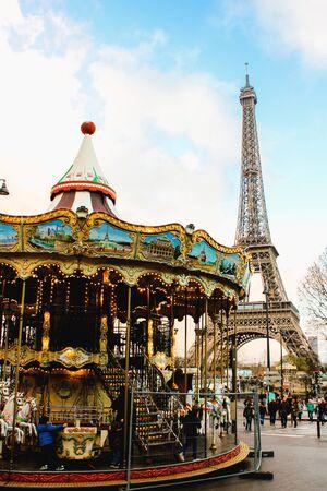 Carousel near the Eiffel Tower in Paris, France 写真素材