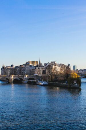 View of the island above the Seine River in Paris, France