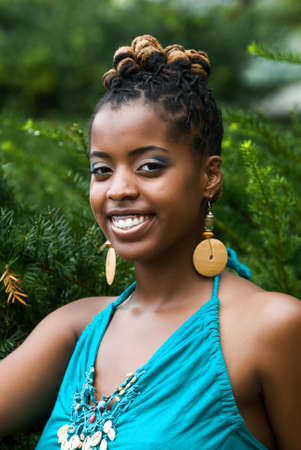 African American woman smiles