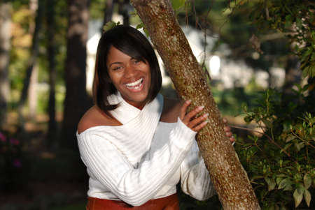 African-American woman full of joy smiling photo