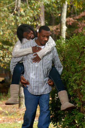 African-American couple outside bonding on a fall day Stock Photo