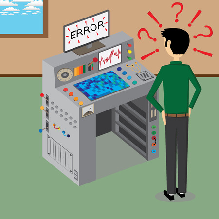 Illustration of a supercomputer and a man  The supercomputer is haven a error