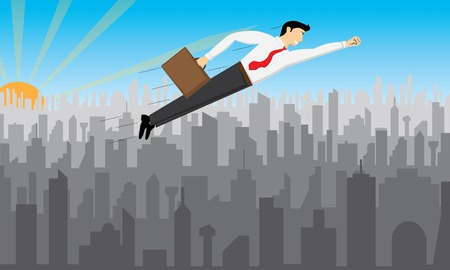 Illustration with a businessman that is flying over the city