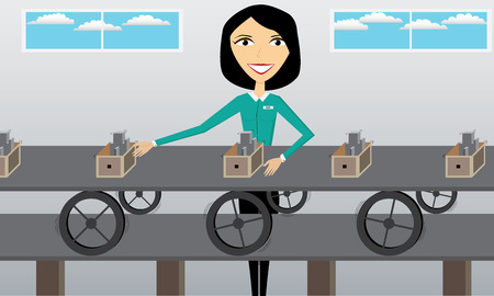 Illustration with a woman that is working in a factory
