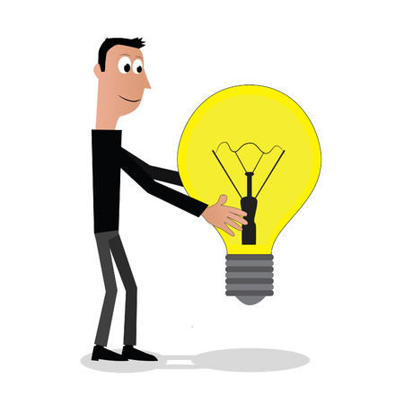 ight: Illustration  vector  of a man that is holding a light bolb