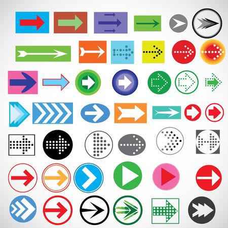 acute angle: Ilustraci�n vectorial con los iconos de las flechas