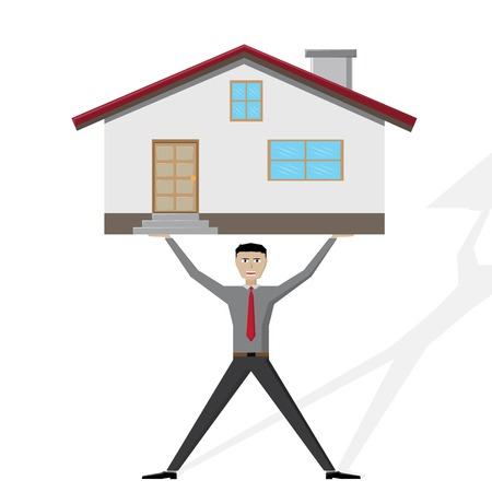 Illustration  vector  of a man that lifted a house