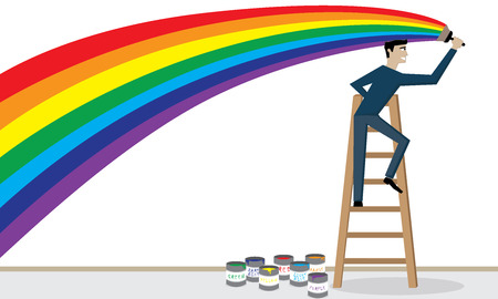 Illustration  vector  of a man is painting a rainbow on the wall  Vector