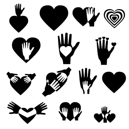Illustration  vector  with signs of hands and hearts  Vector