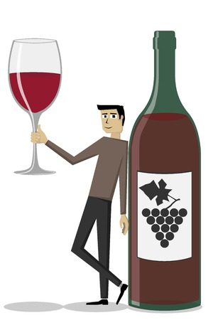 dinner date: Illustration  vector  of a man that is holding a wine glass in his hand, and he is standing near a wine bottle