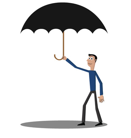 day dreaming: Man protected by umbrella