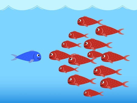 enemy: Competition between fishes Illustration