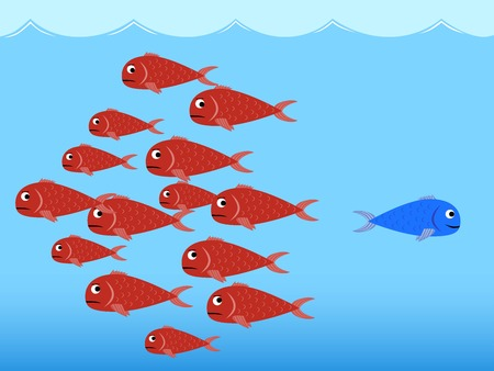 Blue and red fishes Vector
