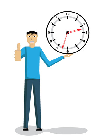 okey: Man holding a clock