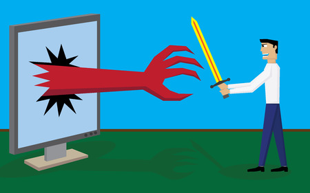 Man fight monster Ilustração
