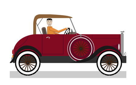 Man in car Vector
