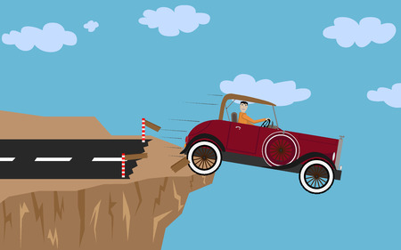 cartoon accident: Crash car with man Illustration