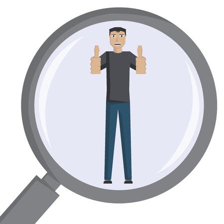 Man in magnifier