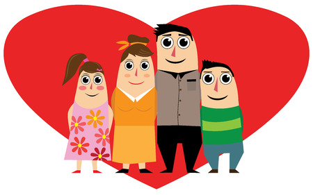 Family in red heart