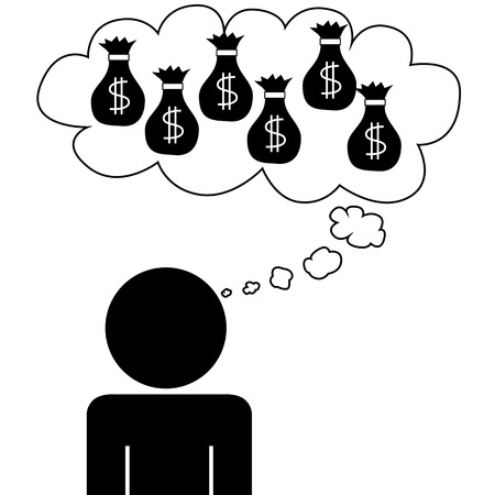 Illustration  vector  of a person that is dreaming at money
