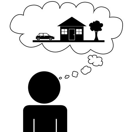 Illustration  vector  of a person that is dreaming at a house