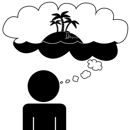 Illustration  vector  of a person that is dreaming at vacation