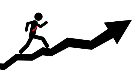 Illustration  vector  of a person that is running on a arrow  Ilustração