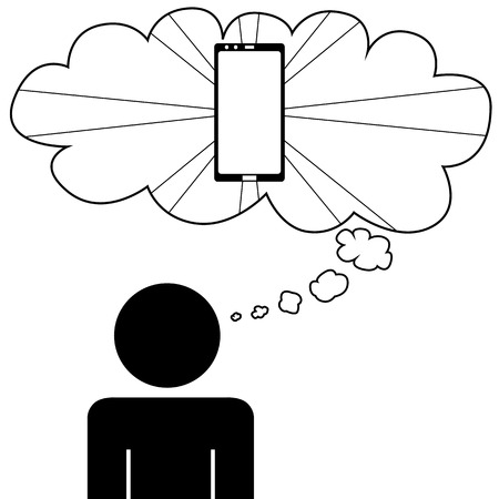 Illustration  vector  of a person that is dreaming at a phone  Ilustração