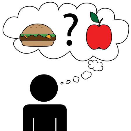Illustration  vector  of a person that is dreaming food  Ilustração