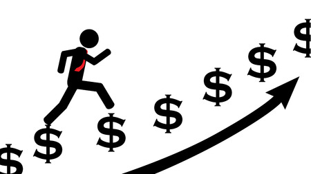 Illustration  vector  of a person that is running on dollars