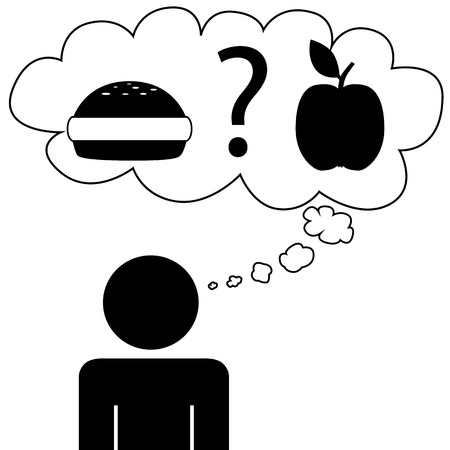 Illustration  vector  of a person that is dreaming at food Vector