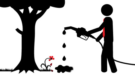 Illustration  vector  of a person that is polluting the nature  Ilustração
