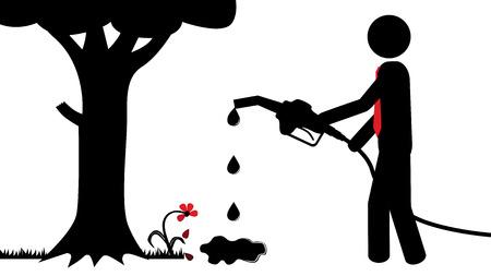 bomba de gasolina: Ilustración del vector de una persona que está contaminando la naturaleza Vectores