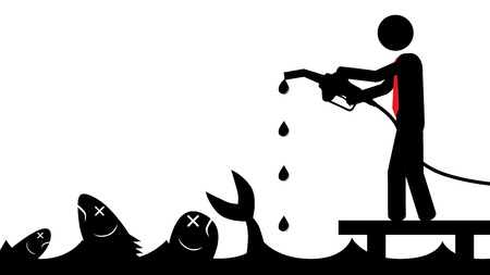 Illustration  vector  of a person that is polluting the sea  Ilustração