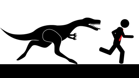 Illustration  vector  of a person that is running from a dinosaur