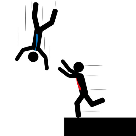 trip hazard: Illustration  vector  of a person that is falling and one that is trying to save him