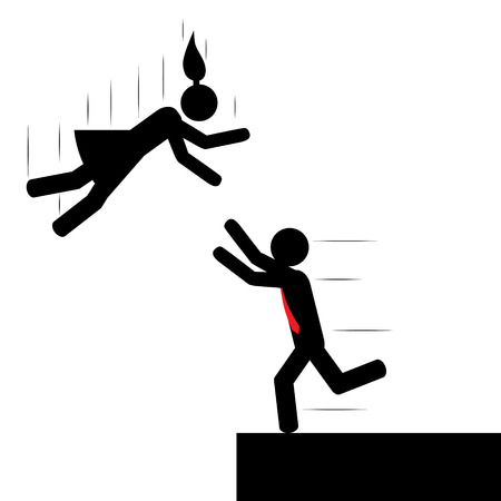 Illustration  vector  of a woman that is falling and a man is trying to save her  Vector