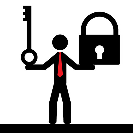 Illustration  vector  of a person that is holding a key and a lock  Ilustração