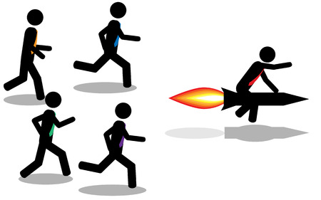 Vector Illustration  A man win a contest by using a rocket