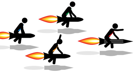 Vector Illustration  Contest between men which ride rockets