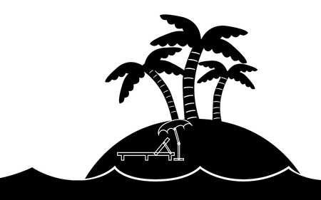 White and black vector   illustration of a island