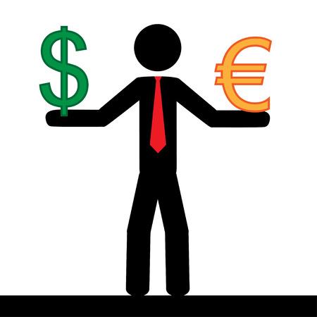 illustrazione uomo: Illustrazione vettoriale Uomo che tiene nelle sue mani i segni euro e dollaro Vettoriali