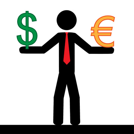 Vector   illustration  Man holding in his hands the euro and dollar signs  Ilustração