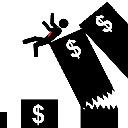 Illustration  vector  of a man that falling from a big graphic