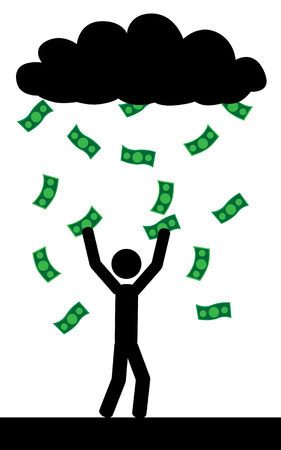 Vector   illustration  Raining with money and a man is trying to catch them all  Ilustração