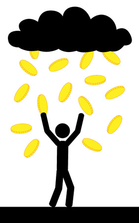 Vector   illustration  Raining with gold coins and a man is trying to catch them all  Ilustração