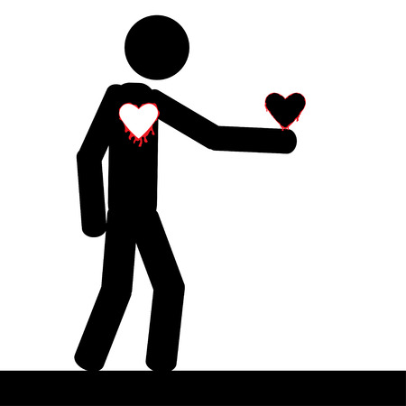 Vector   illustration  A man is holding his own heart in his hand