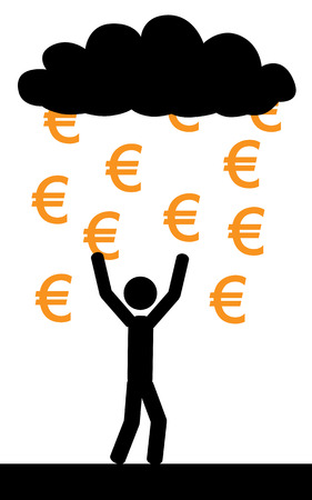 Vector   illustration  Raining with euros and a man is trying to catch them all  Ilustração