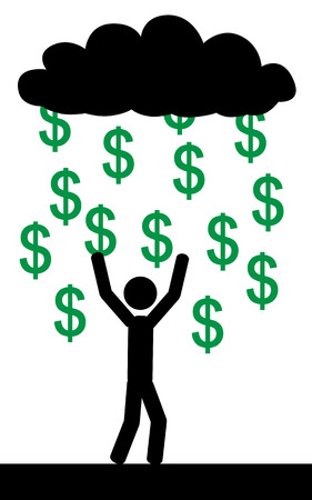 Vector   illustration  Raining with dollars and a man is trying to catch them all  Ilustração