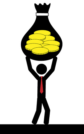 Vector   illustration  A man is holding in his hands a bag of coins